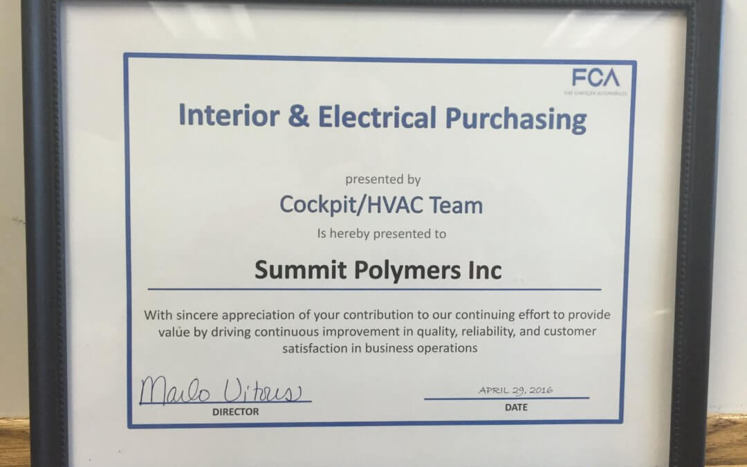 "FCA Recognizes Summit Polymers, Inc. with their ""Foundational Principle"" Award"