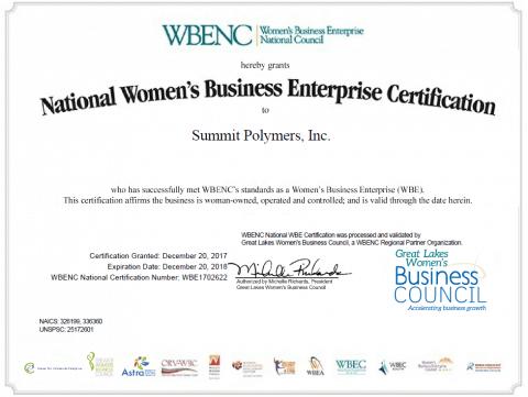 Summit Polymers is certified a Women Enterprise Business