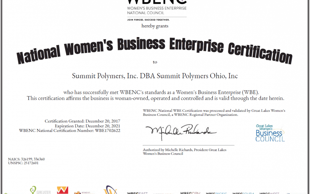 Summit Polymers is certified a Women Enterprise Business